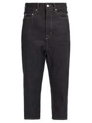 Rick Owens Collapse Mid Rise Cropped Jeans Indigo