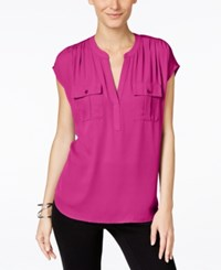 Inc International Concepts Dolman Sleeve Mixed Media Utility Shirt Only At Macy's Magenta Flame