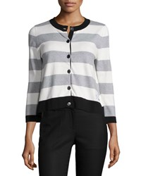 Moschino Button Front Striped Cardigan White Black Gray Women's White Black Grey