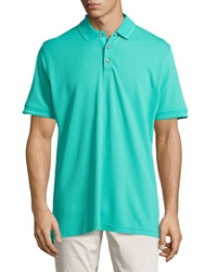 Robert Graham Numero Knit 3 Button Polo Shirt Aqua Haze