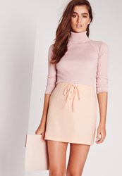 Missguided Lace Up Detail Crepe Mini Skirt Nude Beige