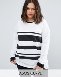 Asos Curve T Shirt In Block Stripe With Long Sleeve Multi