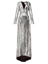 Galvan Stardust Sequinned Chiffon Gown Silver