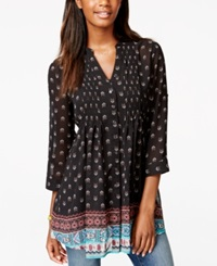 American Rag Printed Pintucked Tunic Blouse Only At Macy's Border Land