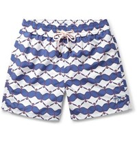 Pink House Mustique Mid Length Printed Swim Shorts Blue