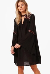 Boohoo Boutique Ava Embroidered Wide Sleeve Swing Dress Black