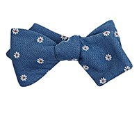 Thomas Mason Men's Flower Embroidered Duke Bow Tie Blue
