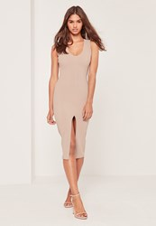 Missguided Petite Exclusive Plunge Front Midi Dress Nude Taupe