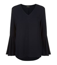 Les Copains Flared Sleeve Blouse Navy