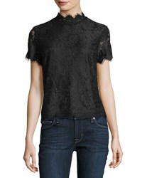 Laundry By Shelli Segal High Neck Short Sleeve Lace Top Black
