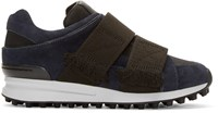 3.1 Phillip Lim Navy And Black Suede Low Top Trance Sneakers
