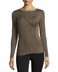 Neiman Marcus Long Sleeve Tee W Ruched Side Olive