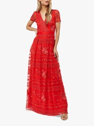 Monsoon Thisbe Floral Print Overlay Dress Red