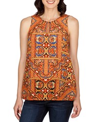 Lucky Brand Sleeveless Printed Top Orange Multi