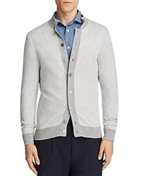 Eleventy Textured Tipped Cardigan Sweater Light Gray