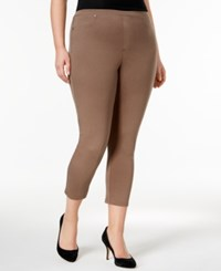 Style And Co Plus Size Pull On Capri Leggings Only At Macy's Brown Clay