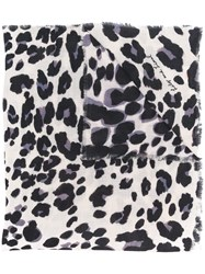 Lily And Lionel Painted Leopard Scarf White
