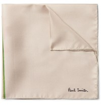 Paul Smith Floral Print Silk Twill Pocket Square Ecru