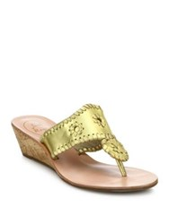 Jack Rogers Whipstitched Metallic Leather Mid Wedge Sandals Gold