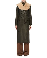 Chloe Shearling Fur Lined Leather Trenchcoat Green