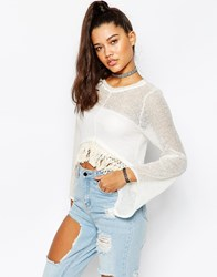 The Ragged Priest Knitted Crop Top With Tassel Edge Detail Cream
