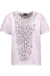 Just Cavalli Studded Tie Dyed Cotton Jersey T Shirt White