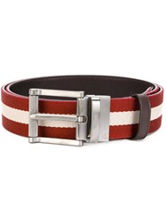 Bally Striped Belt Leather Polyamide Red