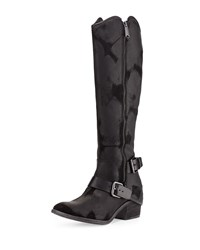 Donald J Pliner Dela Vintage Suede Riding Boot Black Black Black