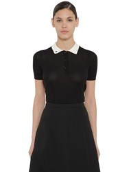 Rochas Virgin Wool Blend Knit Polo Top Black