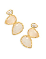 Tai Stone Accented Sterling Silver Cluster Earrings Gold