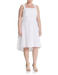 Adrianna Papell Plus Eyelet Lace Fit And Flare Dress White
