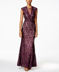 Betsy And Adam Petite Cap Sleeve Lace Illusion Gown Plum Nude