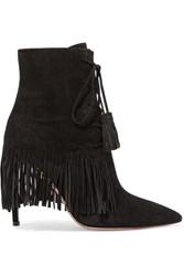 Aquazzura Mustang 105 Fringed Suede Ankle Boots Black