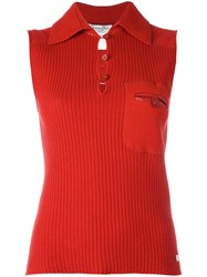 Christian Dior Vintage Sleeveless Ribbed Top Red