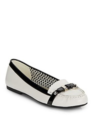 Ak Anne Klein Savina Two Tone Embossed Leather Flats