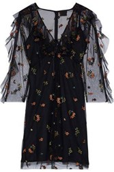 Anna Sui Woman Ruffle Trimmed Embroidered Tulle Mini Dress Black