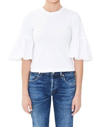 Citizens Of Humanity Runa Flutter Sleeve Cropped Tee White Sculpt