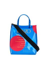 Kenzo Transparent Logo Print Tote Bag Blue