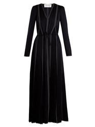 Valentino V Neck Long Sleeved Hammered Satin Dress Navy