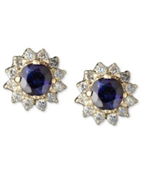 Effy Collection Royalty Inspired By Effy Sapphire 5 8 Ct. T.W. And Diamond 1 4 Ct. T.W. Round Stud In 14K Gold Blue