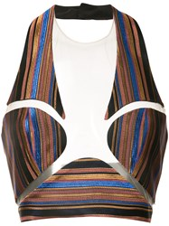 Balmain Striped Bralette Women Silk Polyester Acetate 36 Blue