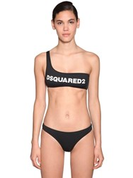 Dsquared Printed Lycra One Shoulder Bikini Top Black