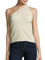 Narciso Rodriguez One Shoulder Lambskin Top Stone