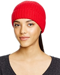 C By Bloomingdale's Cashmere Ribbed Hat Red