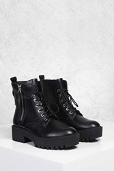 Forever 21 Zip Up Lug Sole Boots Black