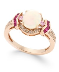 Macy's Opal 1 Ct. T.W. Ruby 1 3 Ct. T.W. Diamond 1 5 Ct. T.W. And Pink Sapphire 1 10 Ct. T.W. Ring In 14K Rose Gold
