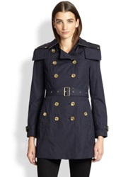Burberry Reymoore Hooded Trenchcoat Navy