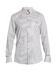 Dolce And Gabbana Gold Fit Crown Embroidered Cotton Shirt Light Grey