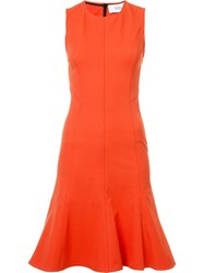 Derek Lam 10 Crosby Flared Sleeveless Dress Yellow Orange
