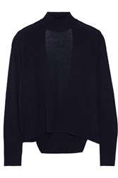 Dion Lee Open Back Merino Wool Turtleneck Sweater Navy